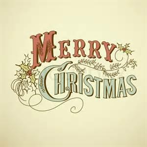 Peace Sign Decor Vintage Christmas Card Merry Christmas Lettering Vector