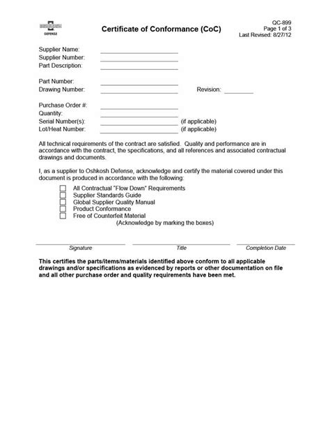 Letter Of Conformance Template by 40 Free Certificate Of Conformance Templates Forms
