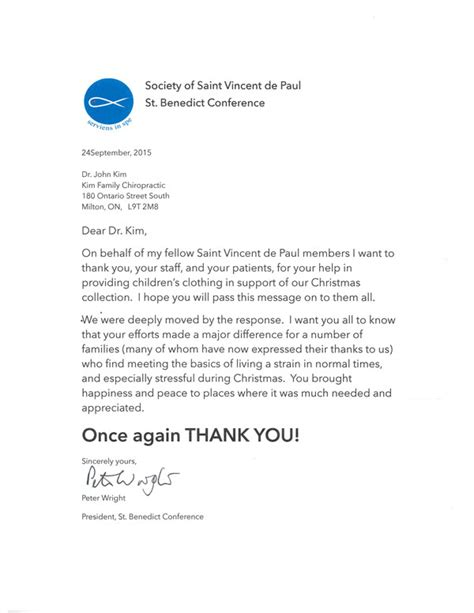 Letter Thank You For Your Reply a thank you letter from the society of vincent de paul