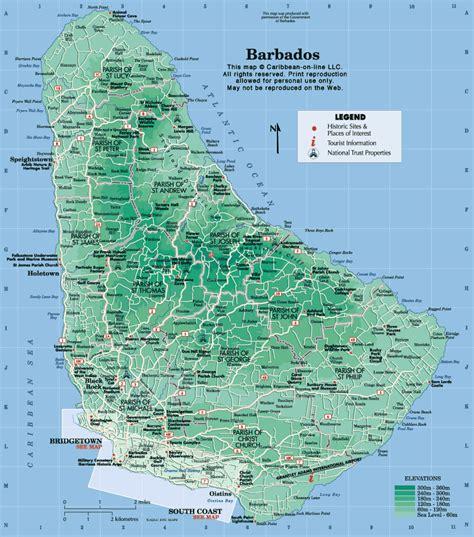 printable barbados road map barbados road map