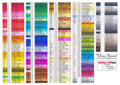 color list dina kowal creative touch marker color charts