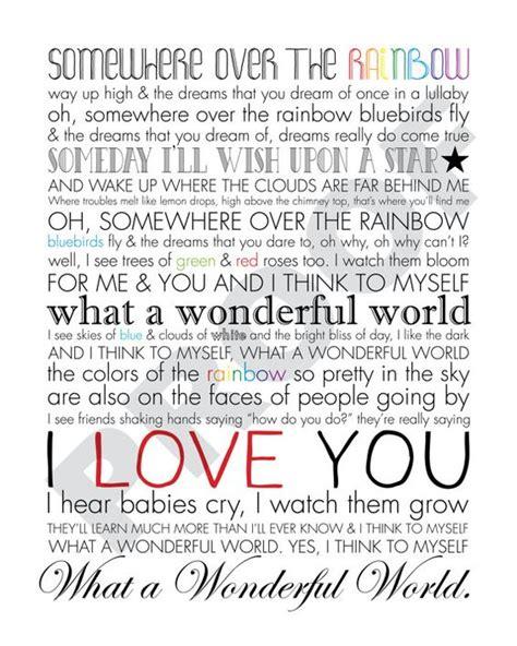 printable lyrics what a wonderful world iz somewhere over the rainbow what a wonderful world