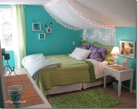pretty lights bedroom bedroom blue canopy diy girly green light lights