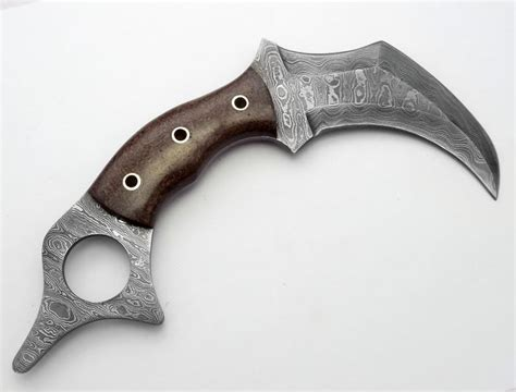 Knives For Kitchen by Full Damascus Karambit Hunting Double Edge Knife Custom