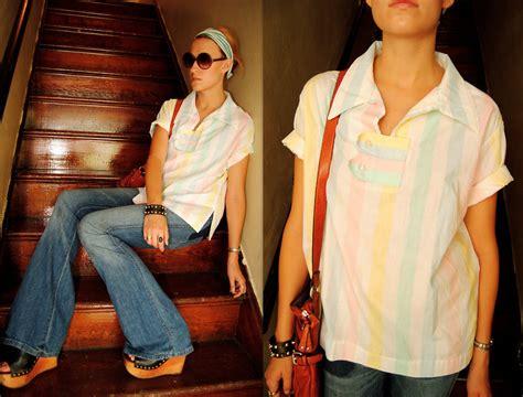 Pastel Blouse Viona Tunik Top matherly thrifted pastel striped blouse elizabeth