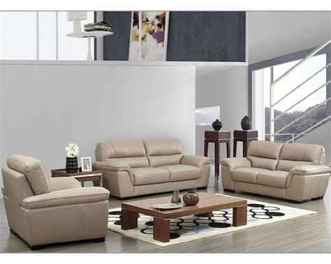 Modern Leather Sofa Set In Beige Color Esf8052set Beige Leather Sofas