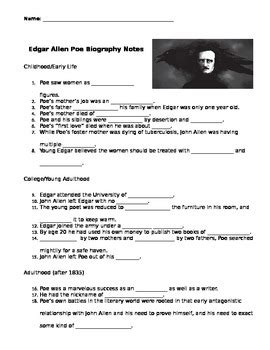 edgar allan poe biography worksheet answers edgar allan poe biography video guided notes key by