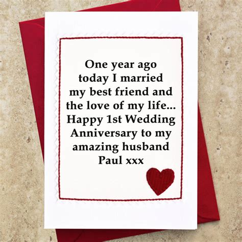 1st Wedding Anniversary by Personalised 1st Wedding Anniversary Card By Arnott