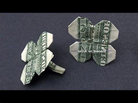 Origami Four Leaf Clover Dollar Bill - 4 leaf clover made with 1 bill money origami dollar