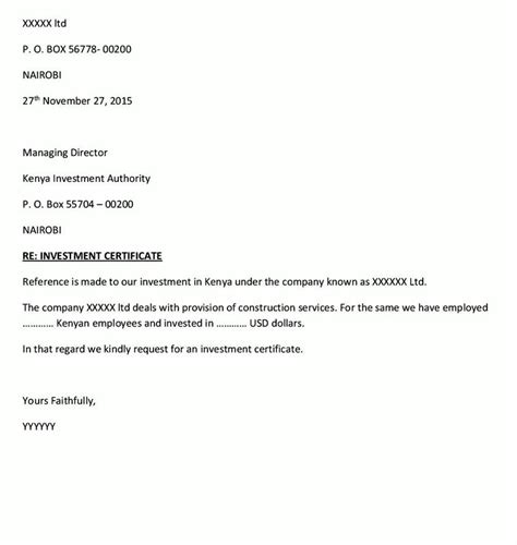 Request Letter For Certificate Eregulations Kenya
