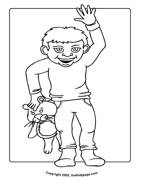 printable coloring pages of stuffed animals kid with stuffed animal free coloring pages for kids