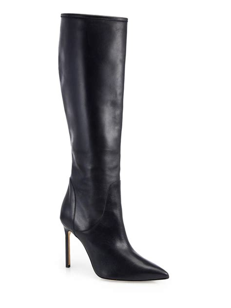 manolo blahnik boots manolo blahnik hanzuotal leather knee high boots in black