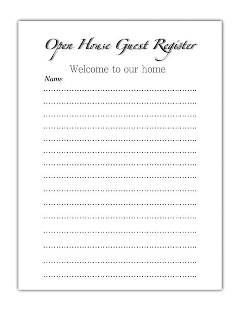 free real estate open house sign in sheet open house sign in sheet