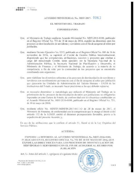 mdt acuerdo ministerial nro 0087 normas para el pago acuerdo ministerial nro 0063 ministerio del trabajo