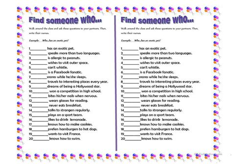 Who Find Find Someone Who Worksheet Free Esl Printable Worksheets Made By Teachers