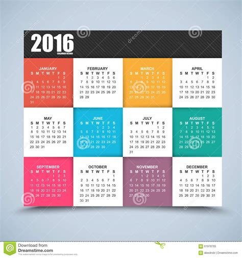 design yearly calendar calendar design 2016 year stock vector image 61978765