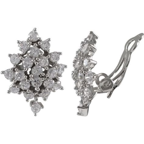 Silver Clip With Cubic Zirconia P 1152 sterling silver cubic zirconia cluster clip on earrings 38 liked on polyvore featuring