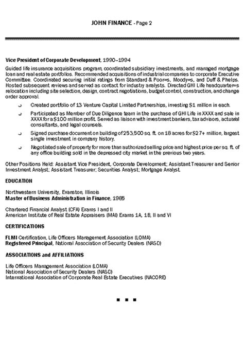 Insurance Executive Sle Resume by Insurance Executive Resume Exle