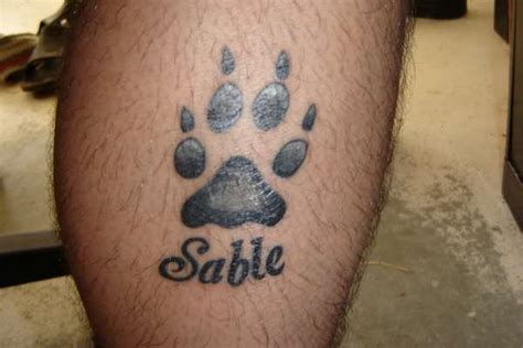 Black Ink Paw Print Dog Memorial Tattoo On Leg Paw Print Memorial Tattoos