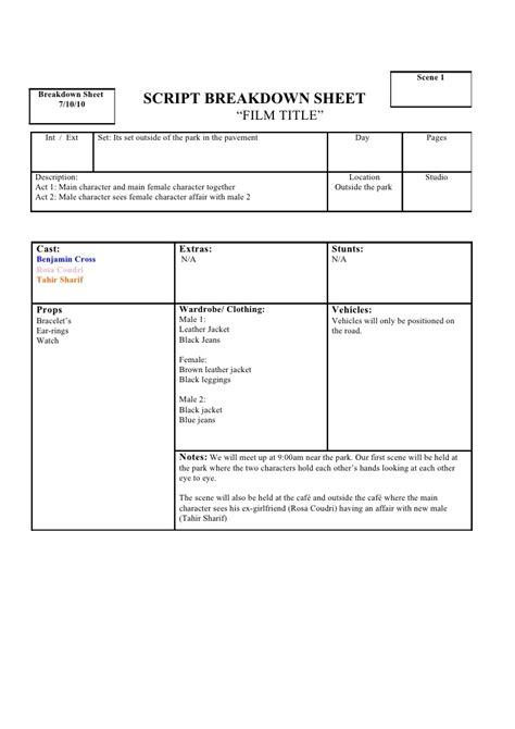 script breakdown template script breakdown sheet 1st tahir