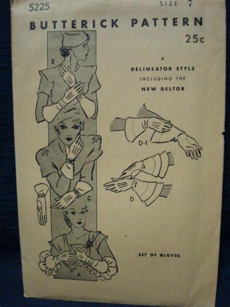 vintage glove pattern 1930s glove gloves gauntlet gloves vintage sewing pattern