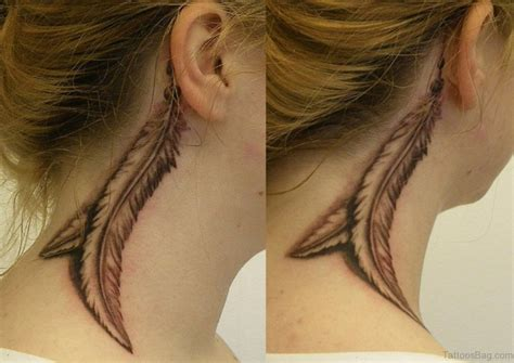feather tattoo in neck 60 appealing feather tattoos on neck