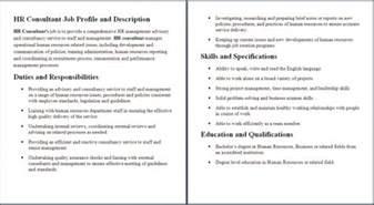 Hr Consultant Description by Human Resources Description Resume Sles Of Resumes