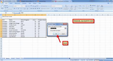 cara membuat query basis data cara mudah membuat data base menggunakan microsoft ecxel