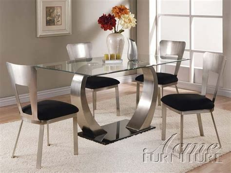 acme camille 5 pc glass top metal base rectangular dining camille 5 piece glass metal table set by acme 10090