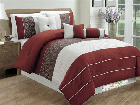 rust bedding 7 pc pleated striped embroidered medallion comforter set