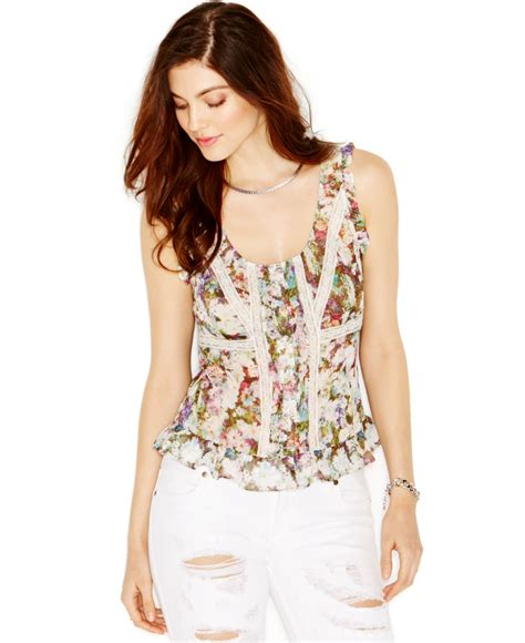 lyst guess sleeveless lace trim floral blouse in white