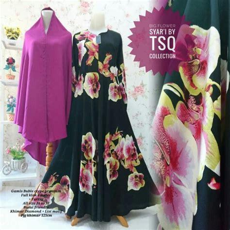 Gamis Umbrella Syari Black gamis syar i cantik b101 big flower model baju muslim modern