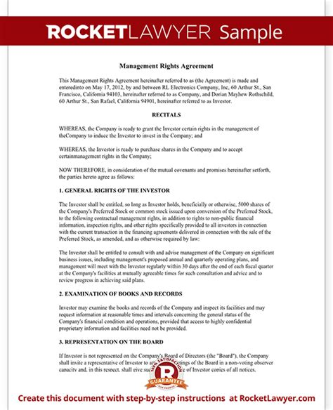 investment management agreement template investment management agreement management rights letter