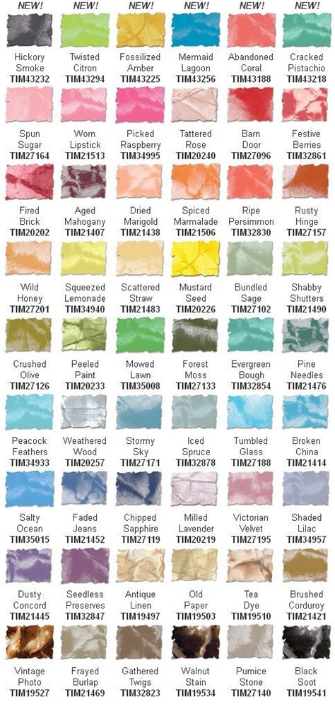 distress ink color chart new color swatch chart for tim holtz distress inks tim