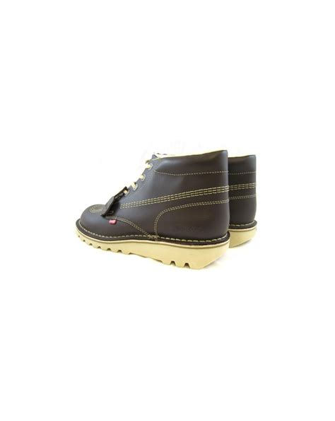 Kickers S P Brown kickers kick hi boots in leather chocolate brown 0