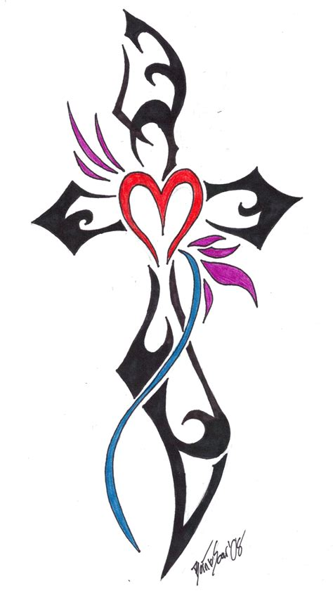 cross tattoos with hearts tribal cross and design