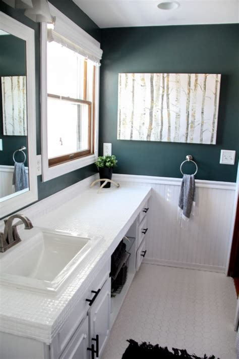 Modern Bathroom Countertops How To Paint Tile Countertops And Our Modern Bathroom Reveal Bright Green Door