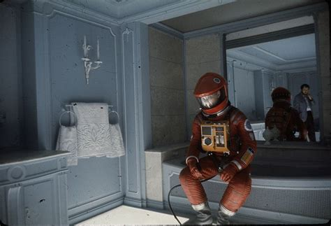 the entity bathroom scene even spacemen need to use the bathroom keir dullea and stanely kubrick between shots