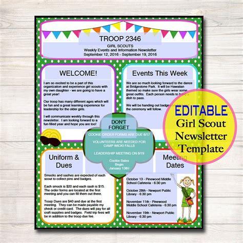 Girl Scouts Newsletter Template Instant Editable Troop Cub Scout Newsletter Template
