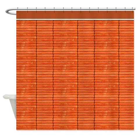 Wooden Slat Blinds by Orange Wooden Slat Blinds Shower Curtain By Digitalrealityart