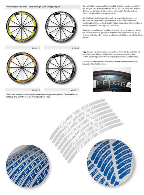 Fahrrad Aufkleber Auf Rechnung by Laufrad Decals Aufkleber Beschriftung F 252 R Hochprofil