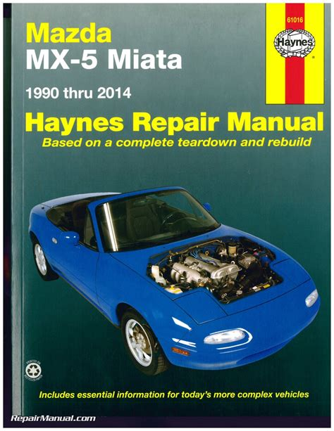auto repair manual free download 1992 mazda mx 5 auto manual haynes mazda mx 5 miata 1990 2014 auto repair manual
