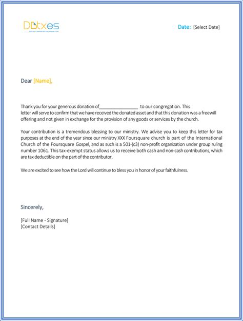 letters donation