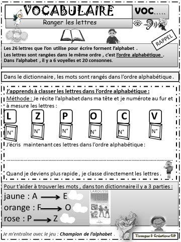 SEQUENCE L'ALPHABET et L'ORDRE ALPHABETIQUE: JEU - RITUELS