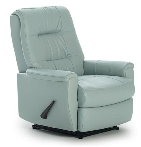 small space recliner bedroom synthetic light blue leather indoor rocking chair