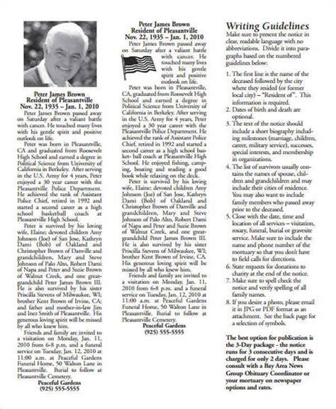newspaper obituary template 36 printable obituary