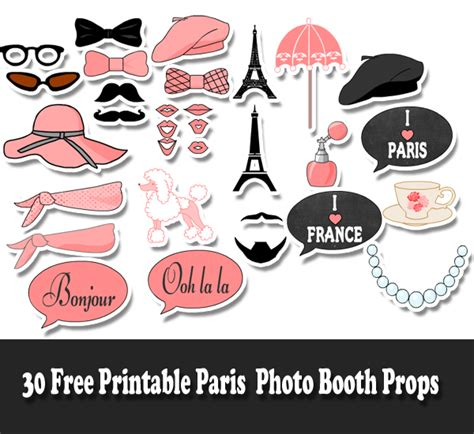 free printable paris themed photo booth props 30 free printable paris photo booth props