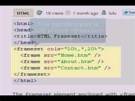 html tutorial on youtube html tutorial frameset youtube