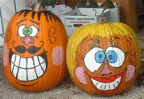pumpkins painted funny faces holidays pinterest