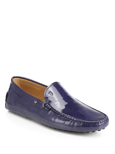 loafers patent tod s patent leather loafers in blue for aqua lyst